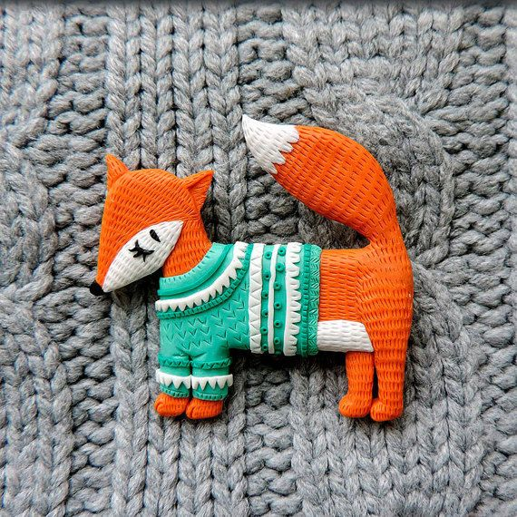 Brooch fox mint sweater - fox brooch - polymer clay brooch - original best gift - summer jewelry