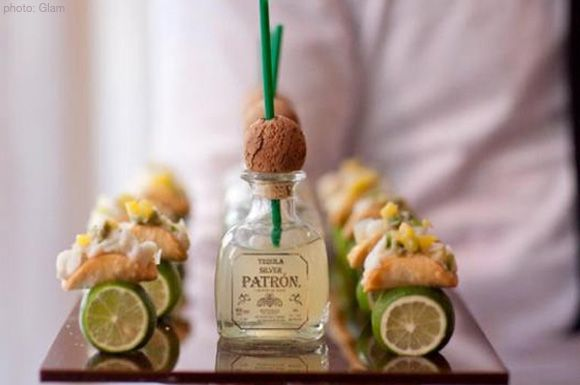 Um, how fun is this idea?! mini fish tacos, mini patron.