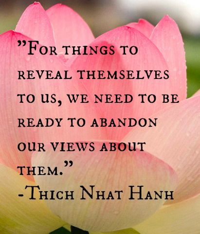 """For things to reveal themselves to us, we need to be ready to abandon our views about them."" Thich Nhat Hanh"
