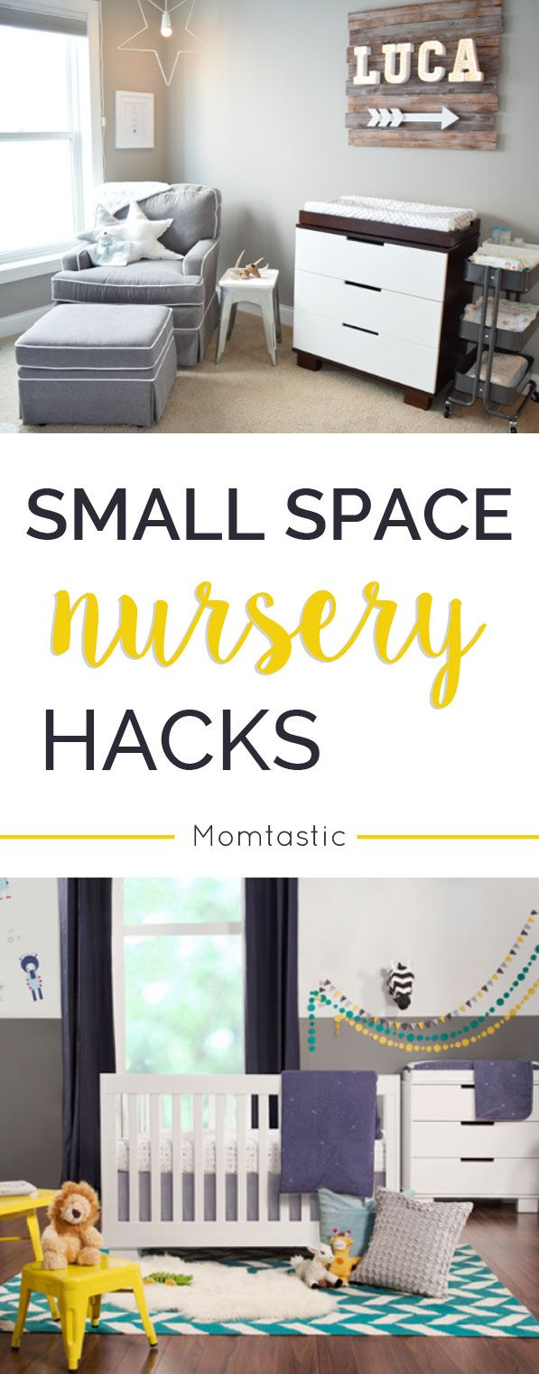 Genius tips for if you have no room for baby. Smart ways to trick the eye so it appears there's more space and what colors to choose to make the nursery look bigger.