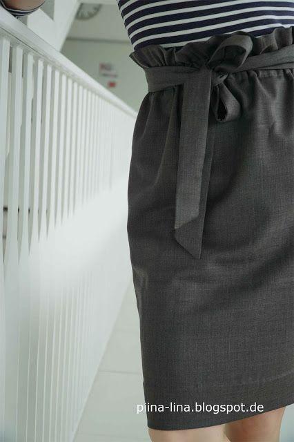 Paperbag waist Rock selbst nähen – 3 Teile, 6 Nähte