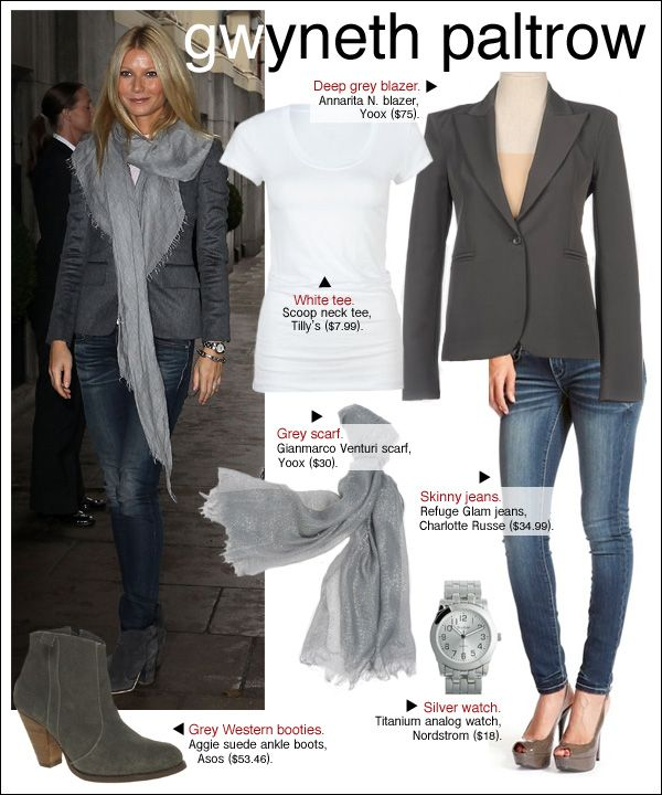 Gwyneth Paltrow rocked a grey blazer and skinny jeans at a Stand Up to Cancer event in London this week.