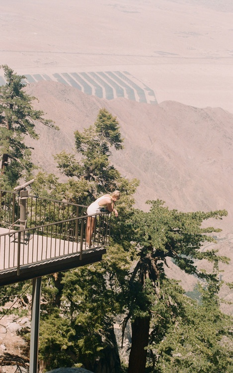 Becca / Palm Springs Cableway Viewing deck.  A still from 'Made in USA', a documentary project created in collaborationwithAmerican Apparel.