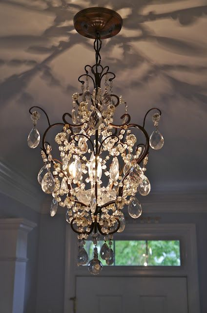 Foyer Size French Crystal Chandlier - pretty pattern on reflected on the ceiling