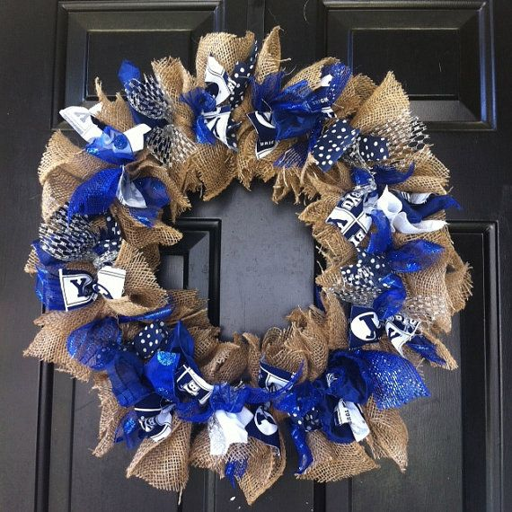 BYU Wreath Brigham Young University Blue and White Wreath Game Day Wreath Front Door Decoration Rag Wreath Custom Wreath Any Team Colors Show