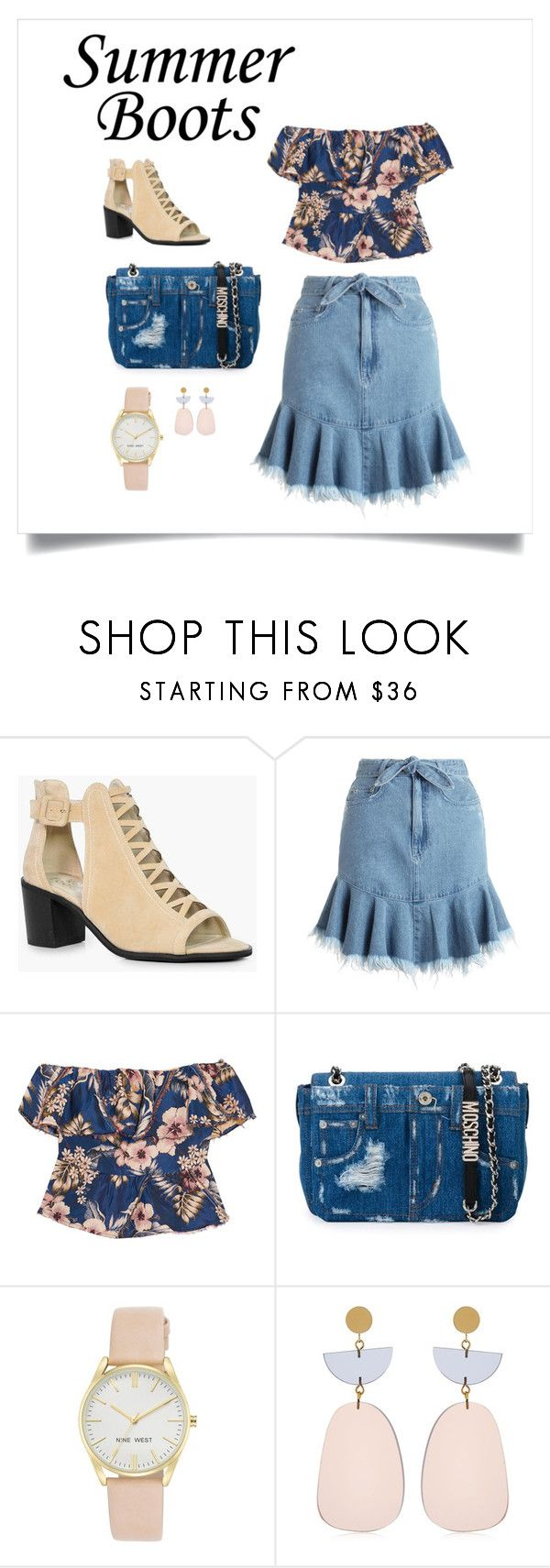"""""""Summer Boots & Denim Skirt"""" by shamrockclover ❤ liked on Polyvore featuring Boohoo, Zimmermann, Philosophy di Lorenzo Serafini, Moschino, Nine West and Isabel Marant"""