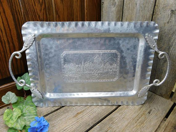 Rare Vintage Hammered Hand Forged Cromwell Metal Aluminum Aluminum Serving Trays Aluminum Tray Forging
