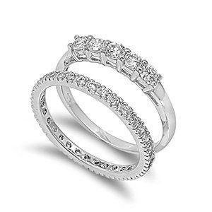 Sterling Silver Wedding Ring Set Ring with Clear CZ Stones - Size 9 (Jewelry)  http://balanceddiet.me.uk/lushstuff.php?p=B00702X0X0  B00702X0X0
