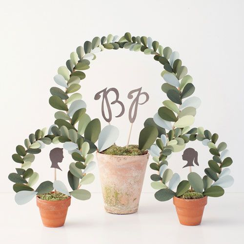 Make a Paper Leaf Topiary on Etsy Weddings. adorable cost saving way to include 'florals' for the weekend.
