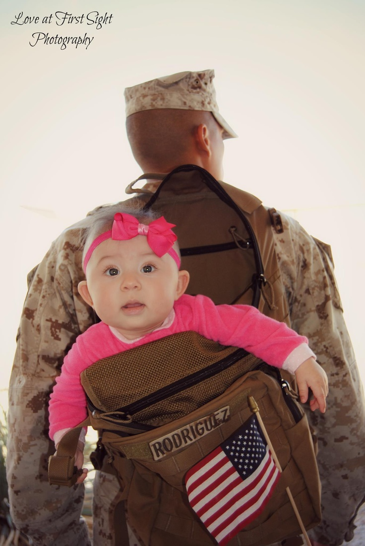 Too cute not to share! She wants to go on daddy's deployment.