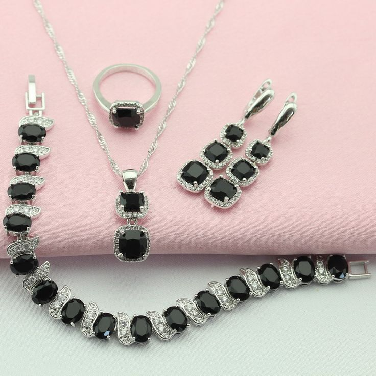 ASHLEY Black White Stone Silver Color Jewelry Sets For Women Long Earrings Chain Bracelet Necklace Pendant Ring Free Gift Box