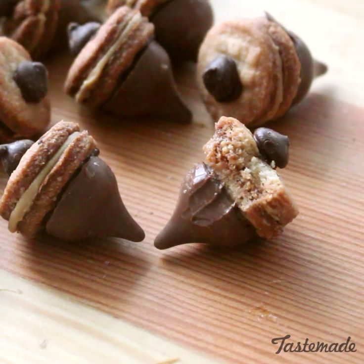 Beware of squirrels when enjoying these chocolate acorn cookies. Adorable and super easy to make with kids!
