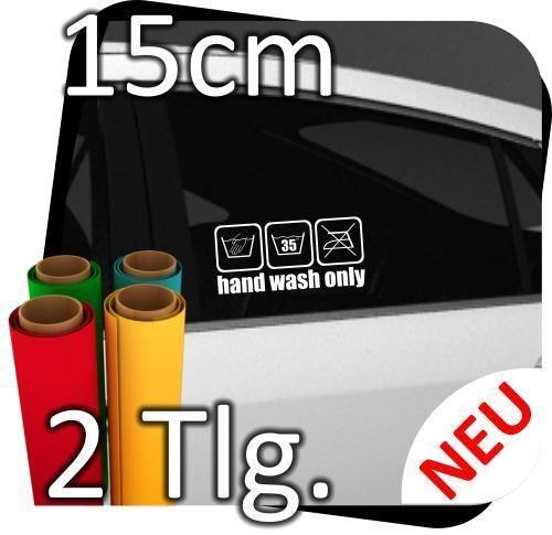 2x 15cm  Hand wash only   Handwäsche  Sticker Aufkleber Motorrad Auto Tattoo