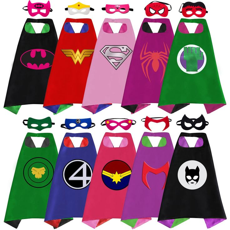 Superhero Capes, Masks, and Bracelets for Kids by McFlony – 5 Reversible Capes, 10 Felt Masks, and 5 Superheroes Rings - Dress Up Clothes for Little Girls