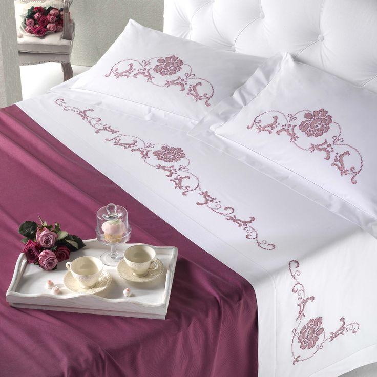 Cotone pelleovo disegnato per parure letto matrimoniale, ricamo punto croce - Camera - Manidifata.it