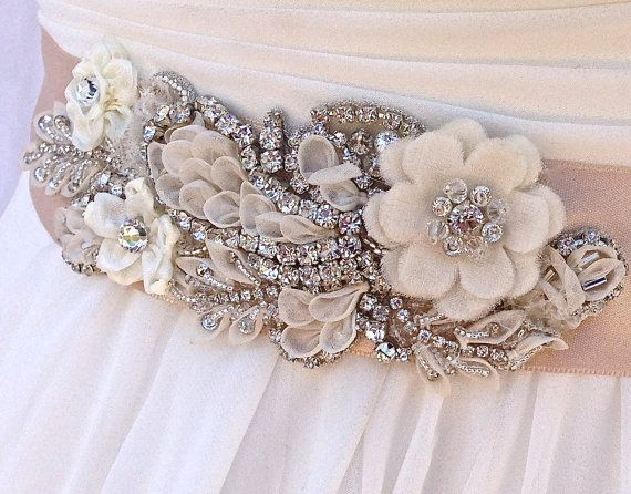 Beaded Bridal Sash-Wedding Sash In Champagne With Crystals, Wedding Dress Sash, Bridal Belt, Bridal Applique, COLOR CHOICES