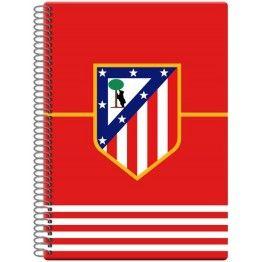 Bloc escolar Atlético de Madrid  Cuaderno cuadriculado tamaño folio del club colchonero  80 hojas unidas mediante espiral con cuadrícula de 4 mm  Dimensiones: 22 x 31 cm  Producto oficial Atlético de Madrid  Fabricado por CyP