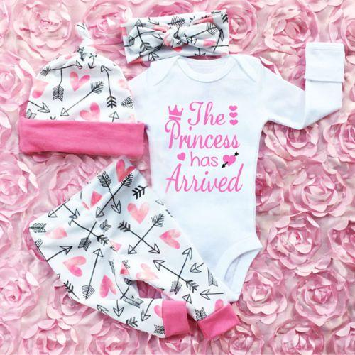 3c48c6cea7d 4PCS Newborn Infant Baby Girl Outfits Clothes Set Romper Bodysuit+Pants  Leggings  adorable  cuteoutfits  newborn  rompers