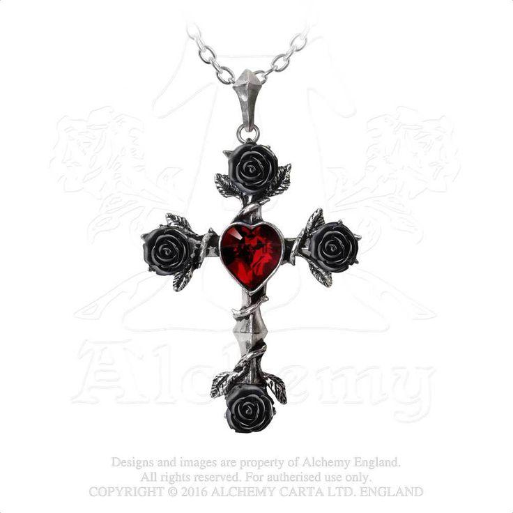 Alchemy Gothic Red Death Thorns Red Crystal Black Cross Womens Chocker P720 jvhQMnhRy7