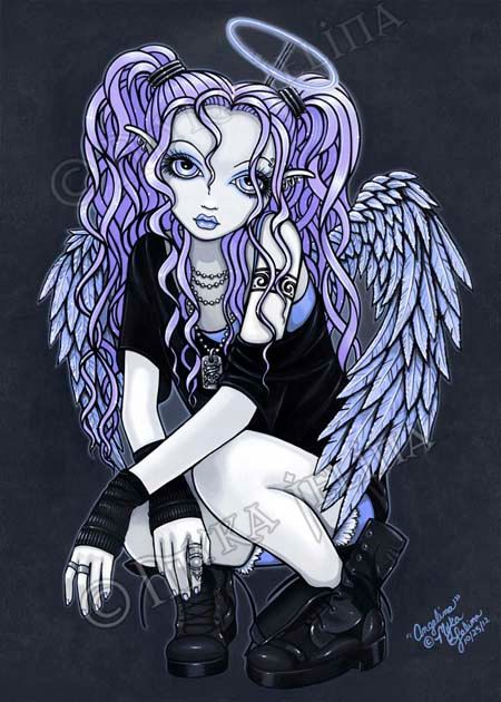 Angelina Violet Winged Gothic Angel Fairy Canvas ACEO