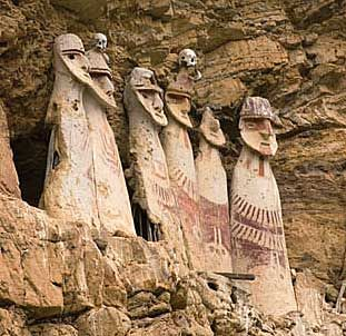 These figures stand on the ledge of a cliff, their gaze fixed where the first rays of the rising sun will appear as new day dawns. The artisans were the Warriors of the Clouds, or the Chachapoyas, an ancient Andean people who inhabited the rainforests of what is now northern Peru. The Incas conquered their civilization shortly before the arrival of the Spanish in Peru.
