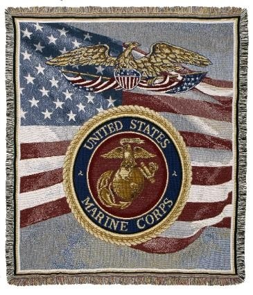 MARINES!!!  With Love Home Decor -  U.S. MARINES TAPESTRY THROW