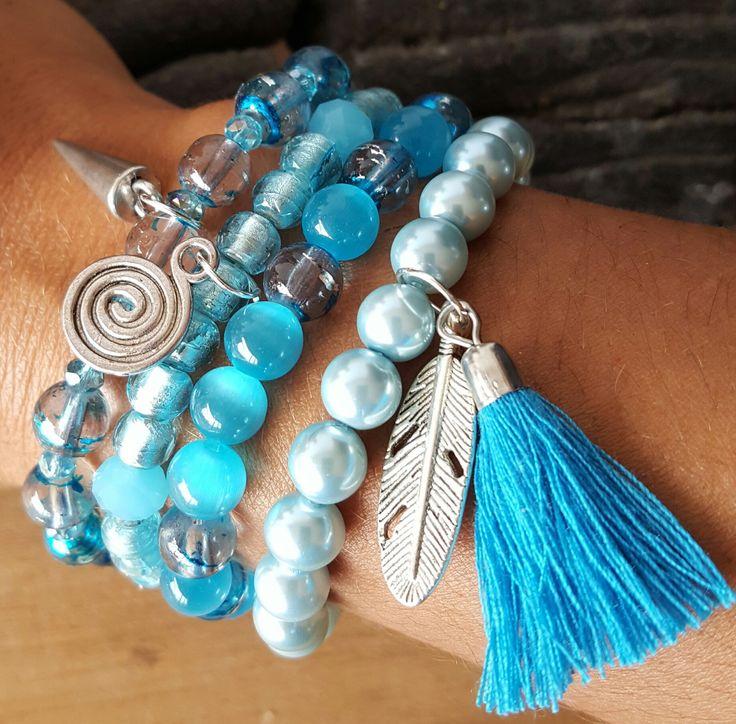 Ensemble quatre bracelets bleus et argent : Bracelet par vel