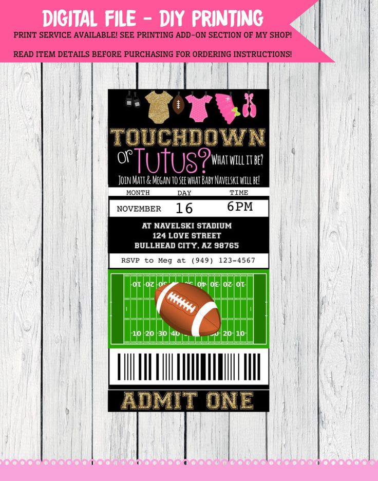 A personal favorite from my Etsy shop https://www.etsy.com/listing/488150264/gender-reveal-touchdown-or-tutu-football