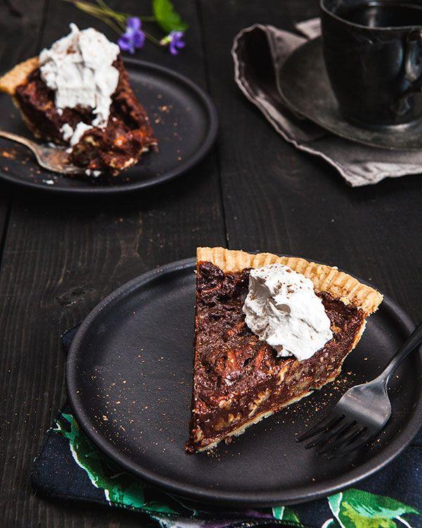 Chocolate Pecan Pie | Isa Chandra Moskowitz ~ soak pecans in bourbon to make vegan derby pie