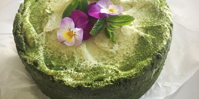 green raw matcha cake, grön raw matcha tårta