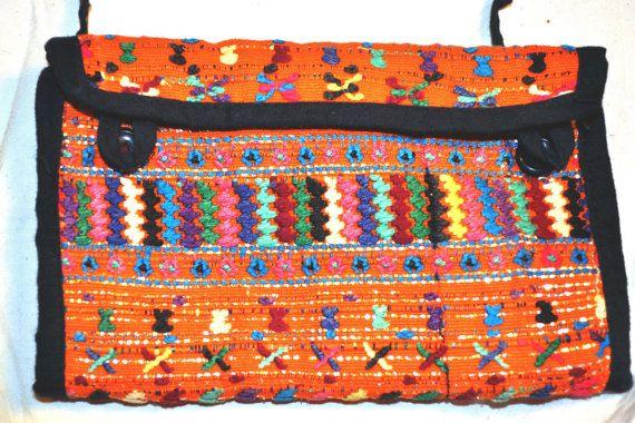 Orange embroidered purse from Guatemala by ShirasSalon on Etsy