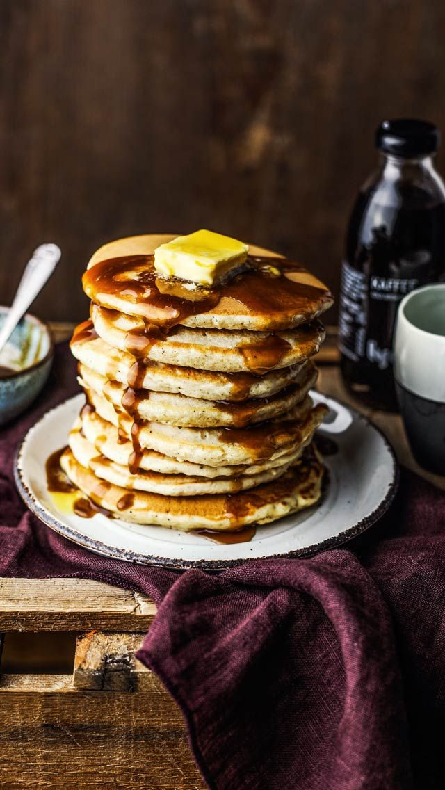 Vanilla Pancakes With Cold Brew Butter Maple Sauce Recipe Vanilla Pancakes Recipes Delicious