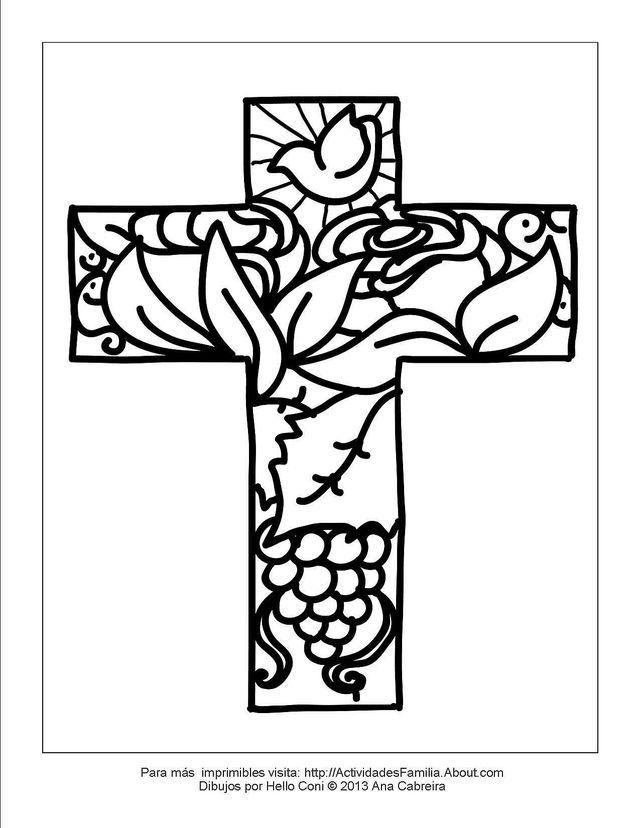 10 Lindos dibujos de pascua de resurrección para colorear en familia: Cruz