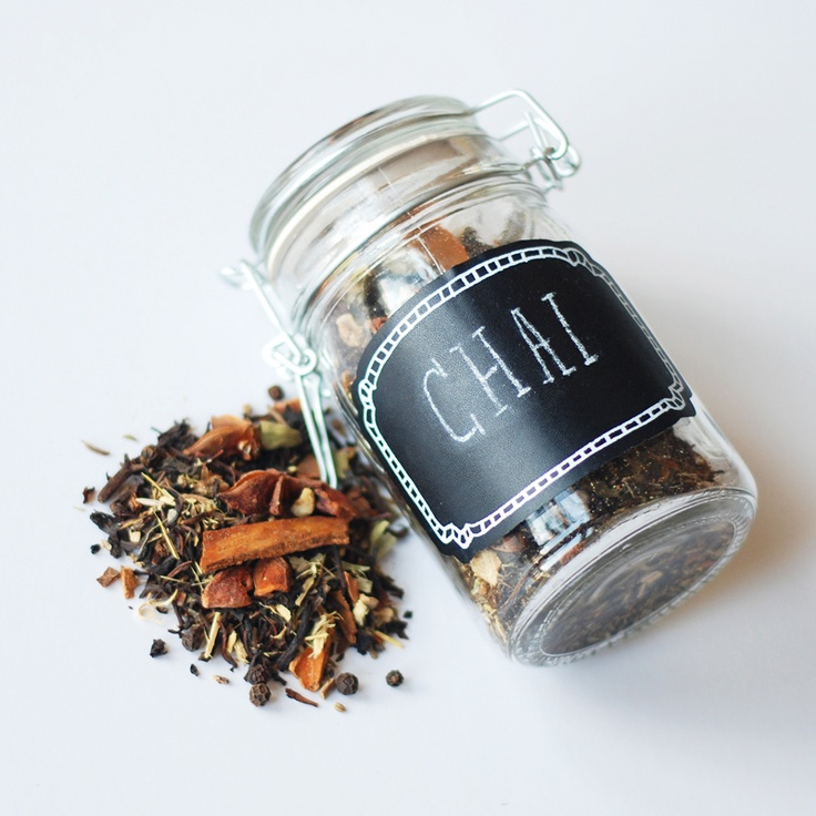 Homemade Chai Tea in a re-usable jar with chalkboard sticker