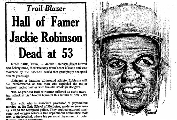 """A newspaper article and illustration about the pioneering baseball player and civil rights activist Jackie Robinson, published in the Plain Dealer (Cleveland, Ohio), 25 October 1972. Read more on the GenealogyBank blog: """"Elizabeth Cady Stanton, Jackie Robinson & Rosa Parks Obituaries."""" http://blog.genealogybank.com/elizabeth-cady-stanton-jackie-robinson-rosa-parks-obituaries.html"""