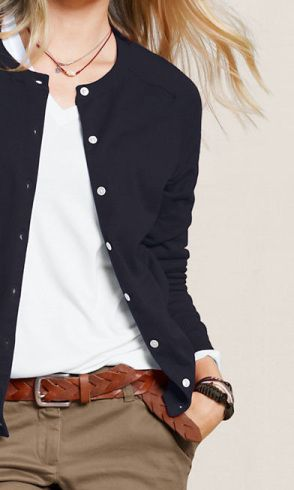 White Top, Navy Blue Cardigan, Neutral Bottoms (Brown trousers)