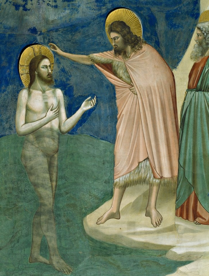Baptism of Christ fresco by Giotto di Bondone, c. 1305 (Cappella Scrovegni, Padua, Italy). #art #artists #giotto