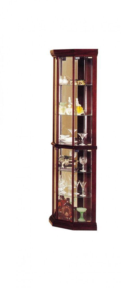 huxley corner curio cabinet cherry indoor 6 tiers glass shelves rh pinterest com