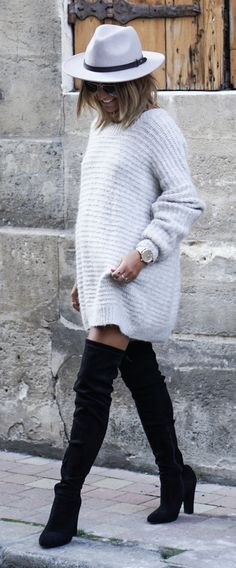 Oversized sweater + suede boot. I would add a leather belt though.