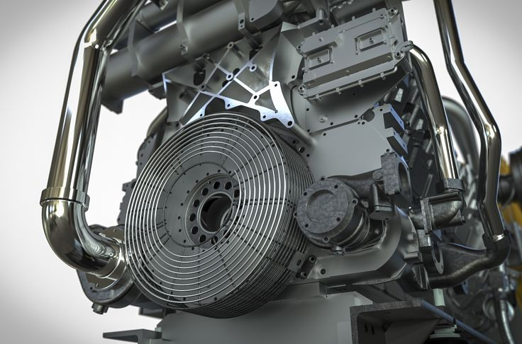 Cat 3512C GenFlex Ship Engine rendered for Pon Power in KeyShot by Magnus Skogsfjord.