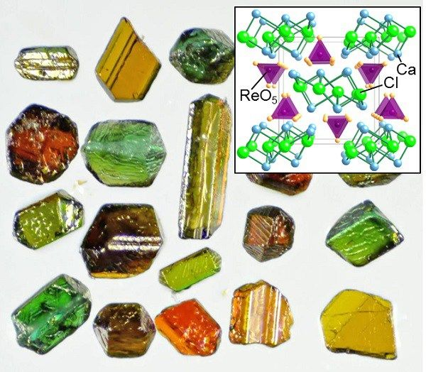 University of Tokyo researchers have successfully synthesized a new compound containing heavy transition metal element rhenium. The material's color changes from green to orange depending on the direction from which it is viewed and exhibits three different colors—green, red, and y...