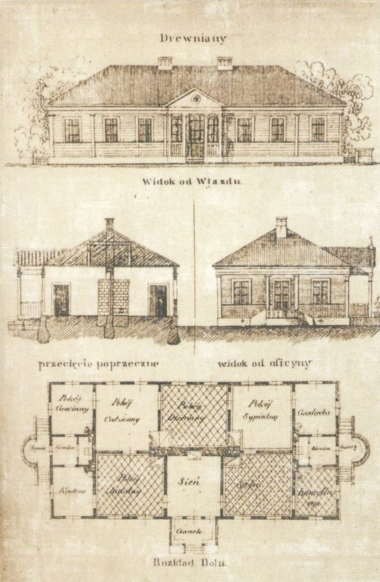 Wooden polish manor, Poland, antique, 1851, 19th century