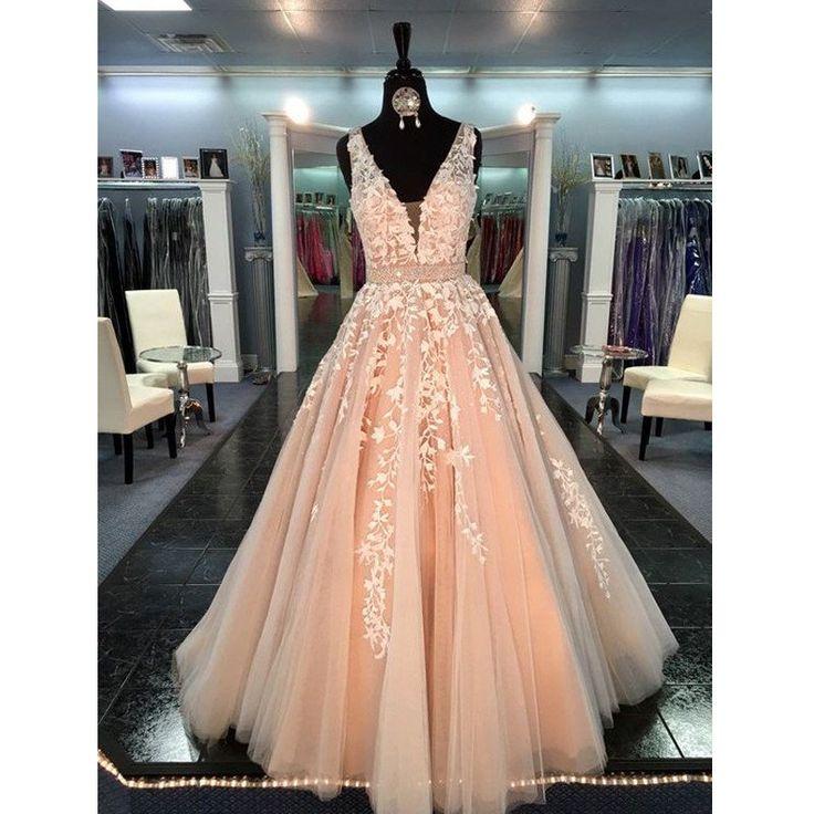 Affordable Peach V Neck Applique Long Cheap Prom Dress, BG51486