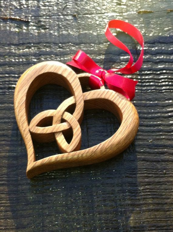 Celtic Wooden OAK TRIQUETRA HEART  Hanging by wildwoodartist, £32.50
