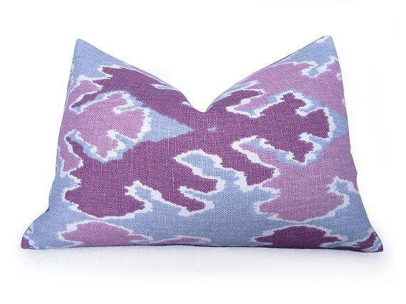 bengal bazaar pillow cover kelly wearstler lee jofa magenta lumbar ikat pillow purple pink slate lumbar pillow cushion