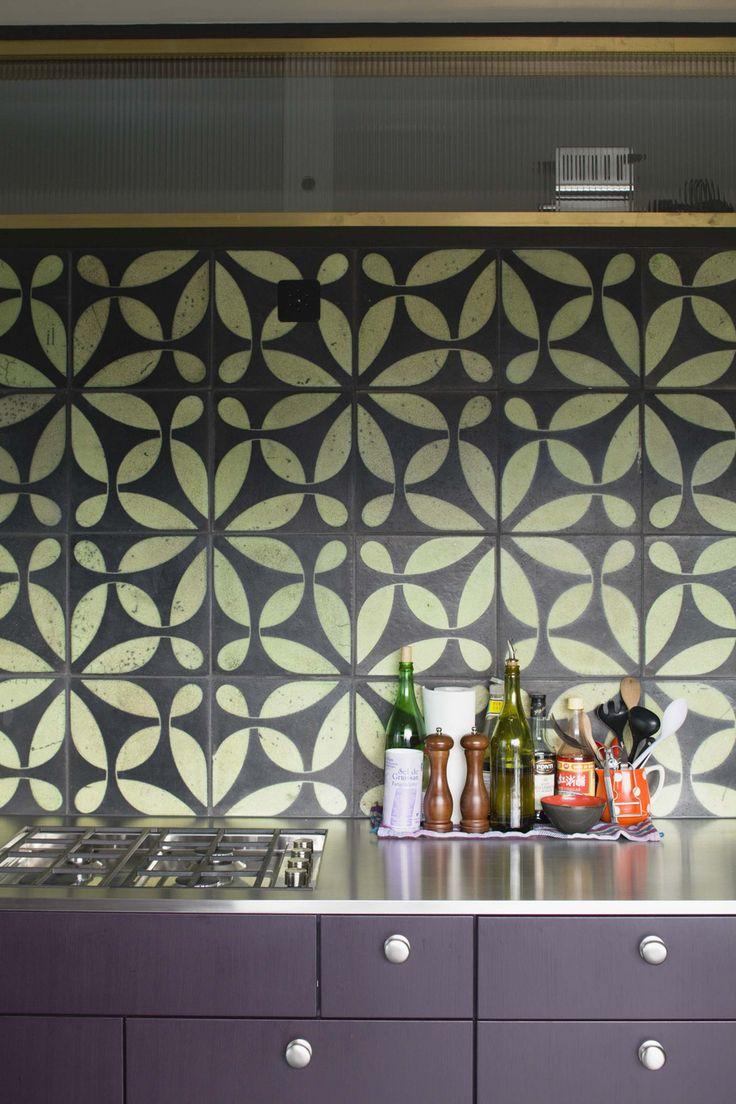 """KARAK designer tiles. VeSta, """"Gras"""" glazing with Raku firing. Hoes Haus West, Zurich, Switzerland. Loeliger Strub Architektur."""
