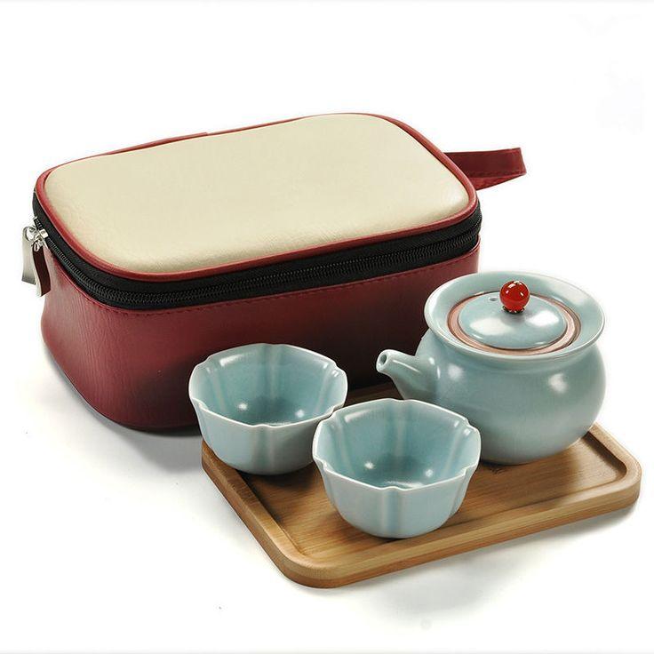 Travel Tea Set Bamboo Small Tea Tray Saucer Open Film Tea Pot Cups Bag Teatray