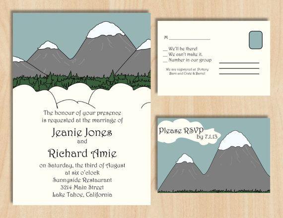 Snowy Mountain Wedding Invitation & Reply Card - Custom Digital Design via Etsy