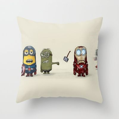 Minion Avengers Throw Pillow by CforCel - $20.00 This website has THE cutest stuff!!!