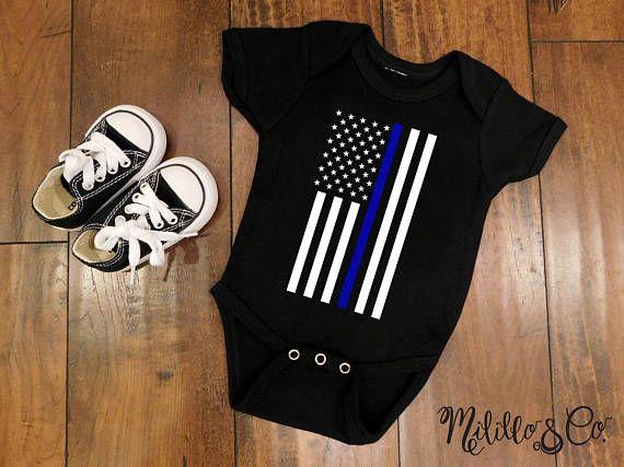 Police Thin Blue Line Law Enforcement American Flag Baby Boy